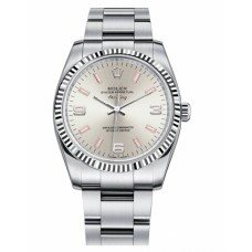 Rolex Air-King White Gold Fluted Bezel 114234 Silver dial Replica