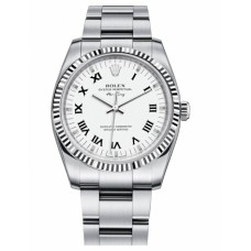 Rolex Air-King White Gold 114234 Fluted Bezel White dial Replica