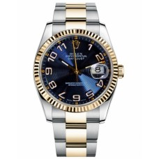 Replica Rolex Datejust 36mm Steel and Gold Blue Concentric Circle Dial 116233