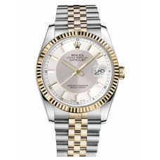 Replica Rolex Datejust 36mm Steel and Yellow Gold Silver Dial 116233 STSISJ