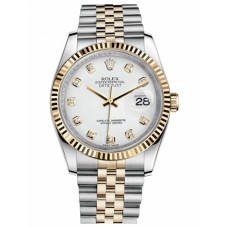 Rolex Datejust 116233 36mm Steel and Yellow Gold White Dial Replica