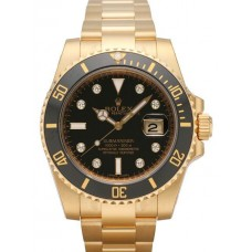 Rolex Submariner Date Yellow Gold Black Dial 116618LN Replica