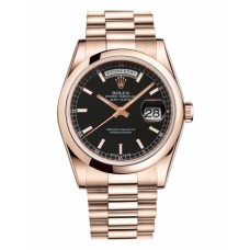 Rolex Day Date 118205 Pink Gold Black Dial