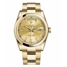 Replica Rolex Day Date 118208 CHSO Yellow Gold Champagne Dial