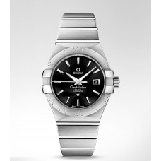 Omega Constellation Black Dial Stainless Steel Diamond Automatic Ladies Replica Watch 123.10.31.20.01.001