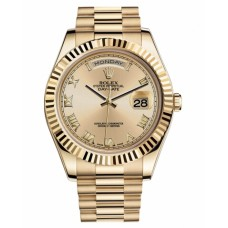 Rolex Day Date II President 218238 CHRP Yellow Gold Chamapgne dial Replica