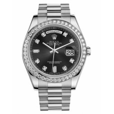 Rolex Day Date II 218349 President White Gold and Diamonds Black dial Replica