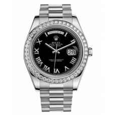 Rolex Day Date II President 218349 White Gold and Diamonds Black dial Replica