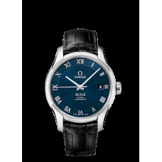 Omega De Ville Blue Dial Black Leather Mens Replica Watch 431.13.41.21.03.001