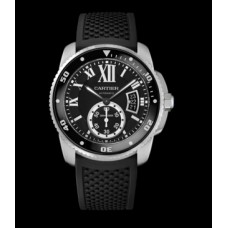 Calibre De Cartier Diver Black Dial Rubber Mens Watch W7100056