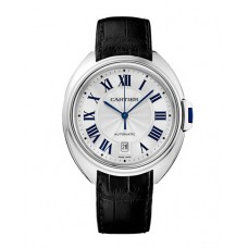 Cartier Cle Silvered Flinque Dial Steel Men's Watch
