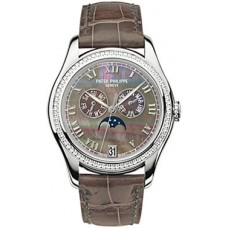 Patek Philippe Black Mother of Pearl Dial 18kt White Gold Brown Leather Automatic Diamond Ladies 4936G-001