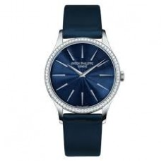 Patek Philippe Calatrava Blue Dial Diamond 18kt White Gold Ladies 4897G-001