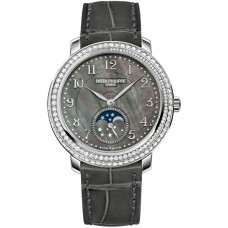 Patek Philippe Complications Black Mother of Pearl Dial Diamond Bezel 18kt White Gold Leather Ladies 4968G-001