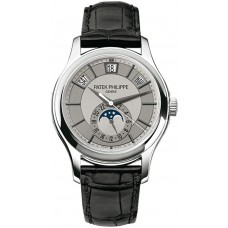Patek Philippe Complications Grey Dial 18k White Gold Black Leather 5205G-001