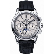 Patek Philippe Grand Complication Silver Dial Chronograph 18kt White Gold Black Leather 5270G-001