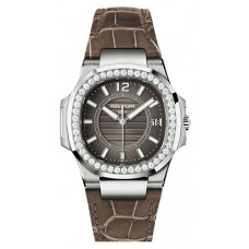 Patek Philippe Nautilus Anthracite Gray, Brown Leather Ladies 7010G-010