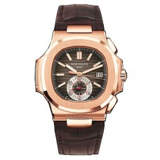 Patek Philippe Nautilus Black-Brown Dial 18kt Rose Gold Case Matt Dark Brown Leather 5980R-001