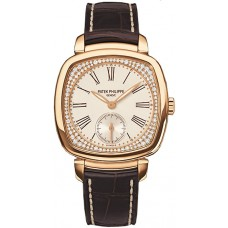Patek Philippe Silver Dial 18kt Rose Gold Diamond Brown Leather Ladies 7041R