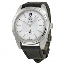 Tudor Glamour Mechanical Silver Dial Black Leather 57000-SVBKL Replica Watch