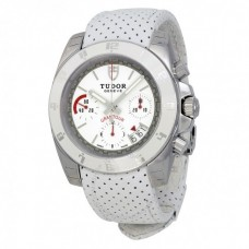 Tudor Grantour Chronograph White Dial White Microperforated Leather 20350W-WSWMCPL Replica Watch